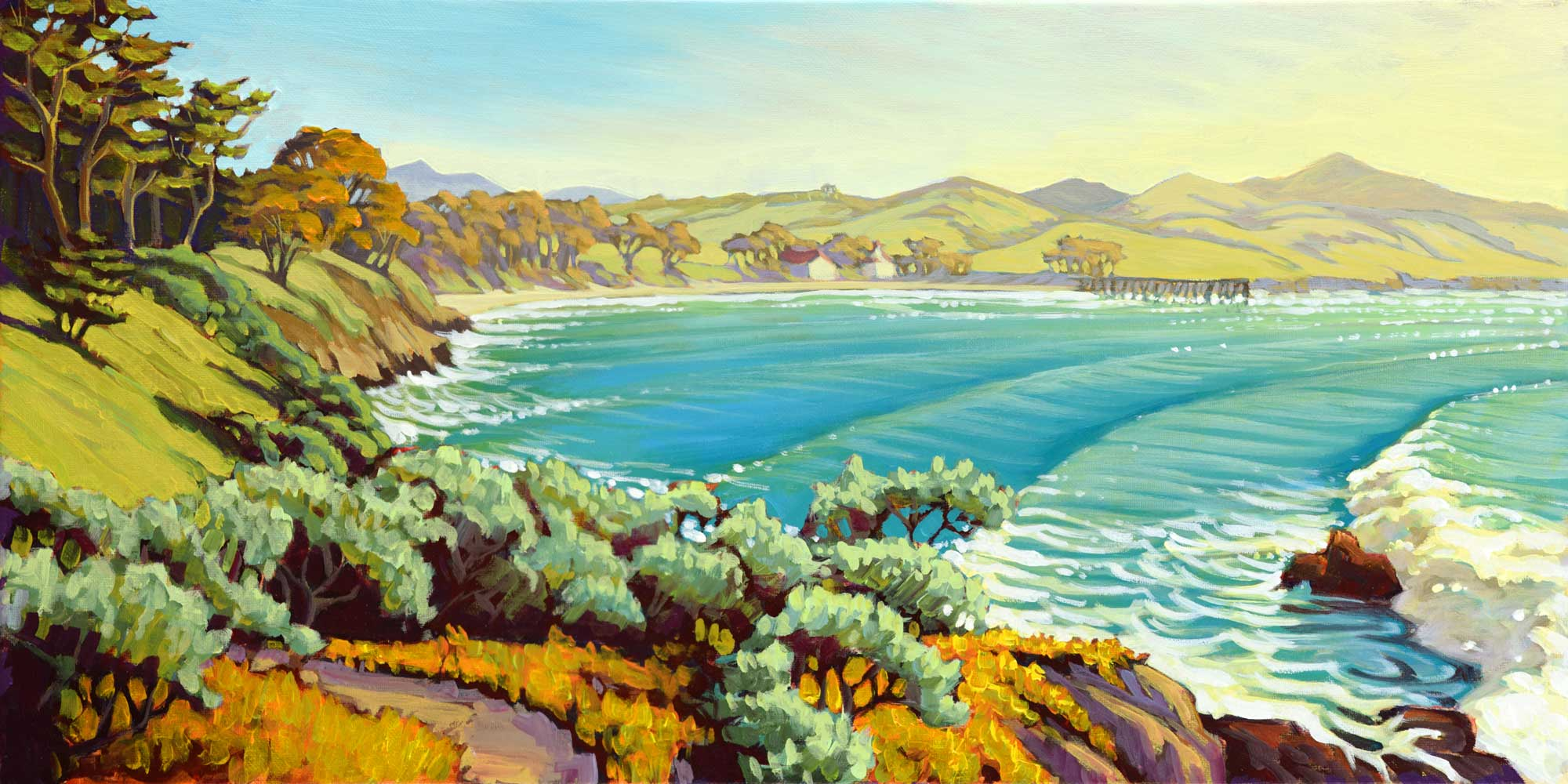 Plein air painting of San Simeon Pier and Cove on the San Luis Obispo coast of central California