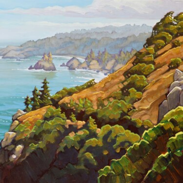 Plein air artwork the view from Trinidad Head on the Humboldt Coast of Northern California