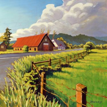 Plein air painting of a barn beside a rural road in Humboldt County, California