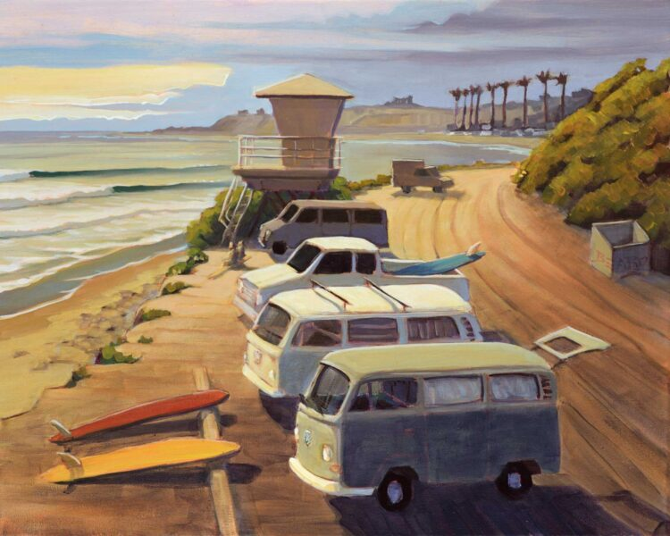 Plein air artwork of VW buses at San Onofre State Park in San Diego County on the Southern California Coast