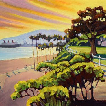 Plein air artwork of Belmont Shores area of Long Beach looking toward the Palos Verdes Peninsula in LA county, California
