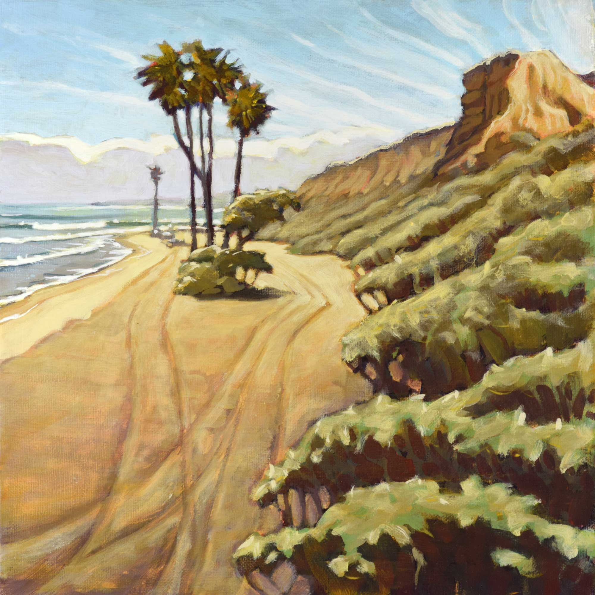 Plein air artwork of palm trees in the carpark at San Onofre State park in Southern California