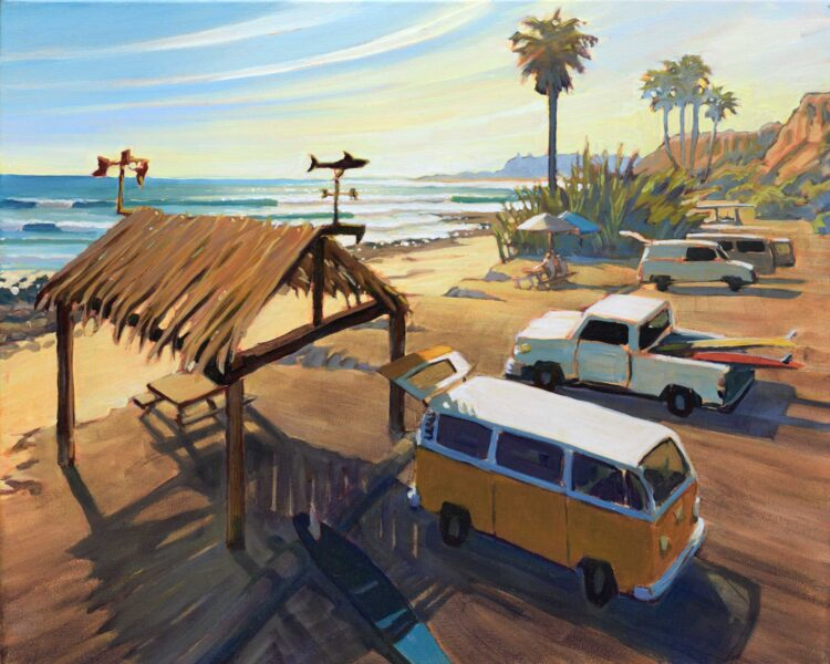 Plein air painting of VW bus at Old Man's in San Onofre State park in San Diego County, California