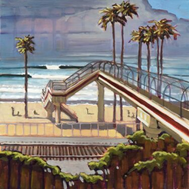 Plein air artwork of the pedestrian overpass at T Street on the Orange County coast of Southern California