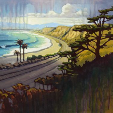 Plein air artwork of the beach at San Clemente looking toward the Pier on the Orange county coast of southern california