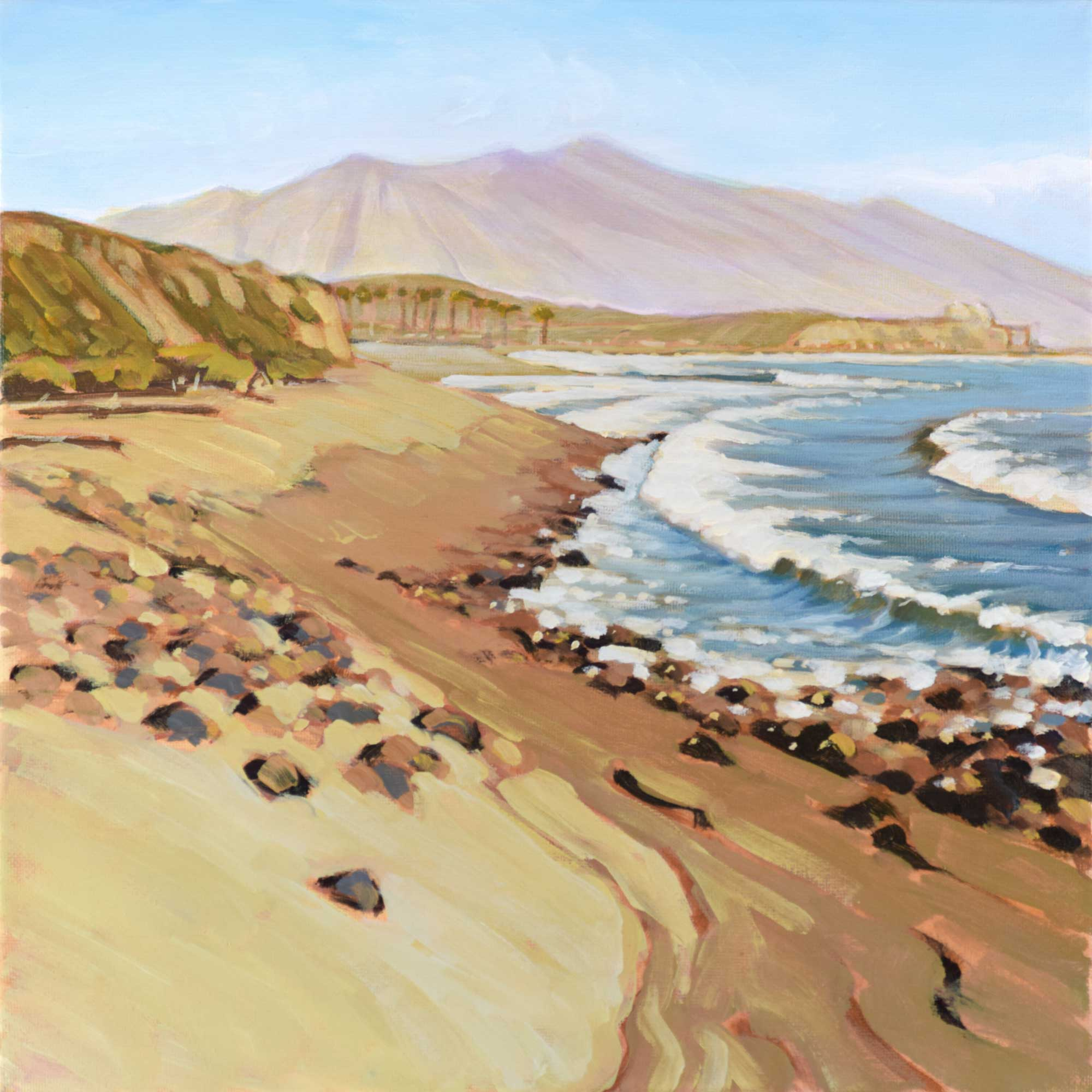Plein air painting from the point at Lower Trestles looking toward San Onofre on the San Diego County coast of California