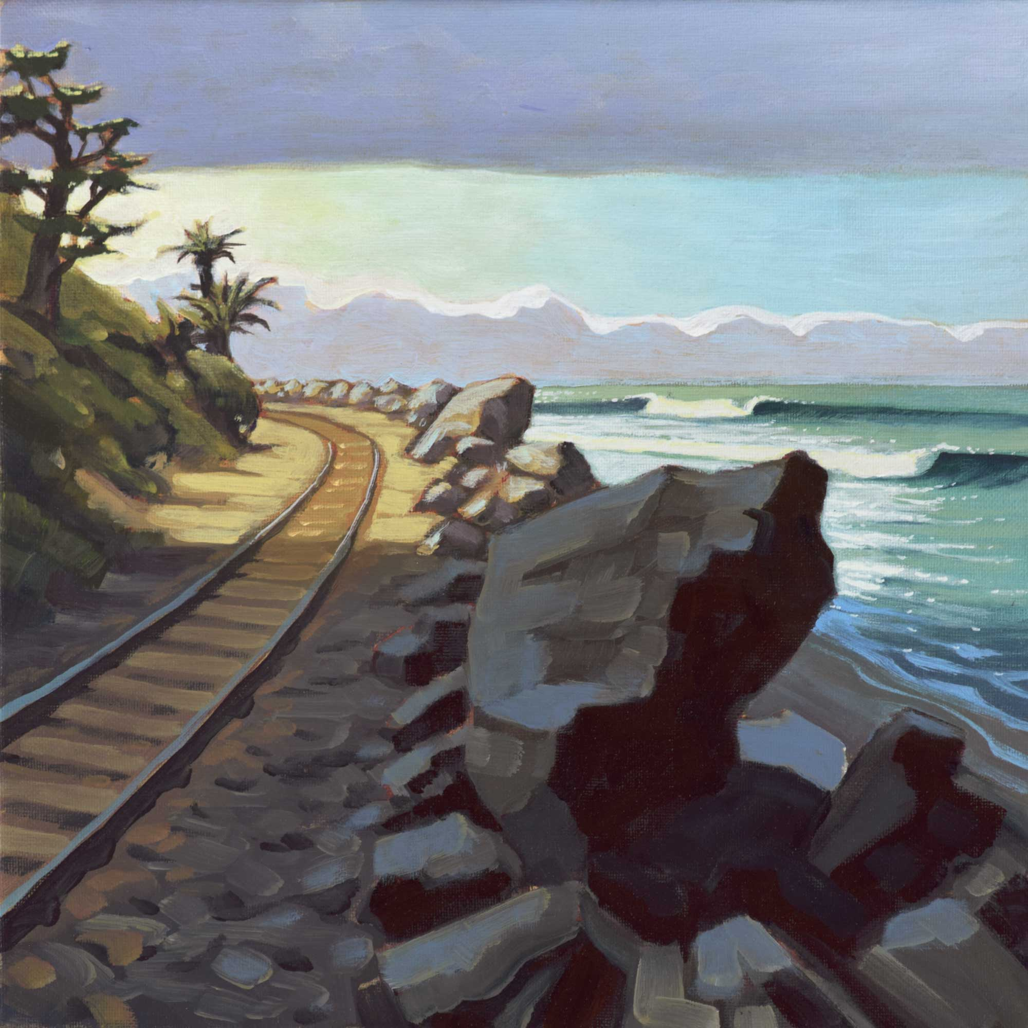 Plein air painting of train tracks near Cotton's point on the San Clemente coast of Orange County in southern California