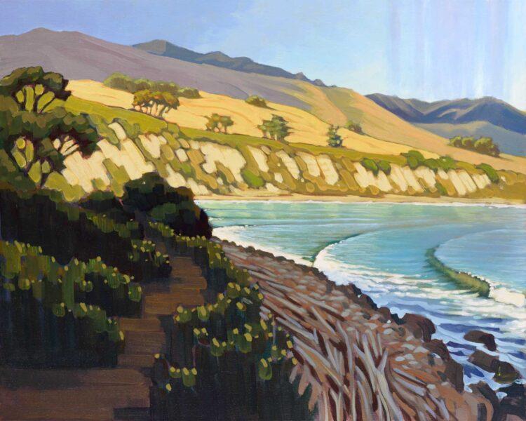 Plein air artwork the coast at El Capitan State Park on the Gaviota coast of Santa Barbara, California