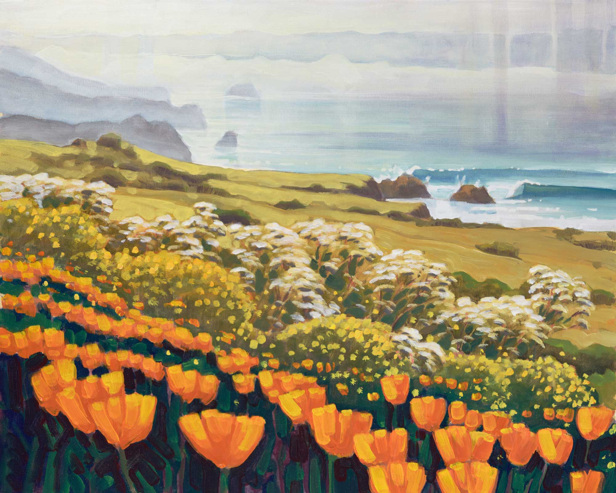 Plein air painting of California poppies on the Big Sur coast of Central Califonria's Monterey County