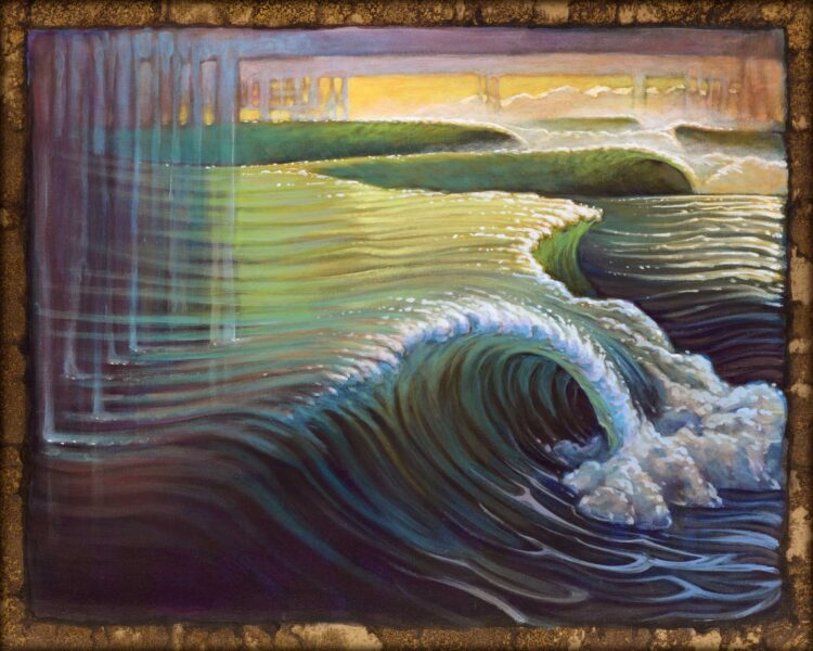 Live art of breaking waves in a colorful storm