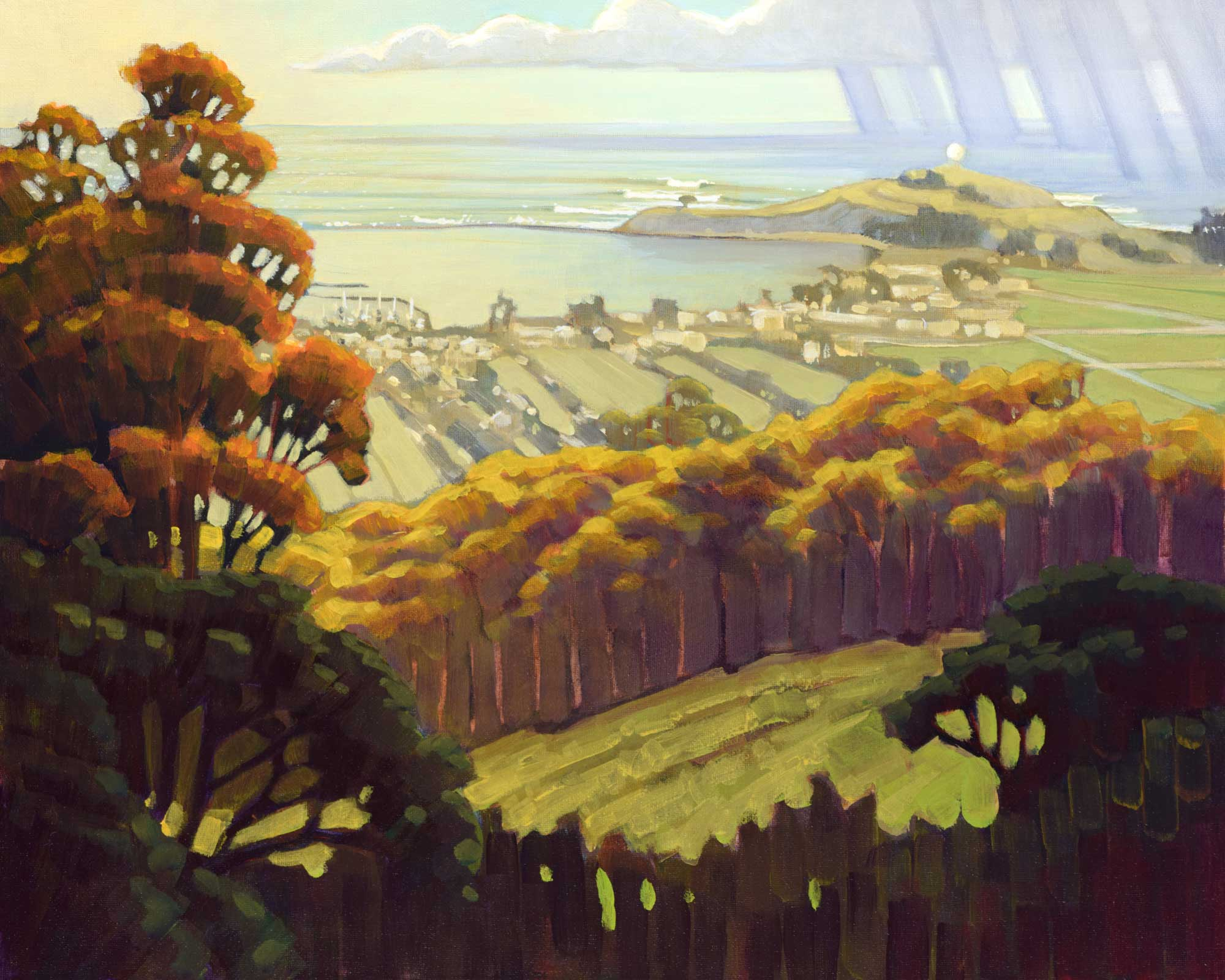Plein air landscape painting overlooking Half Moon Bay and Maverick's in the distance on the San Mateo coast of California