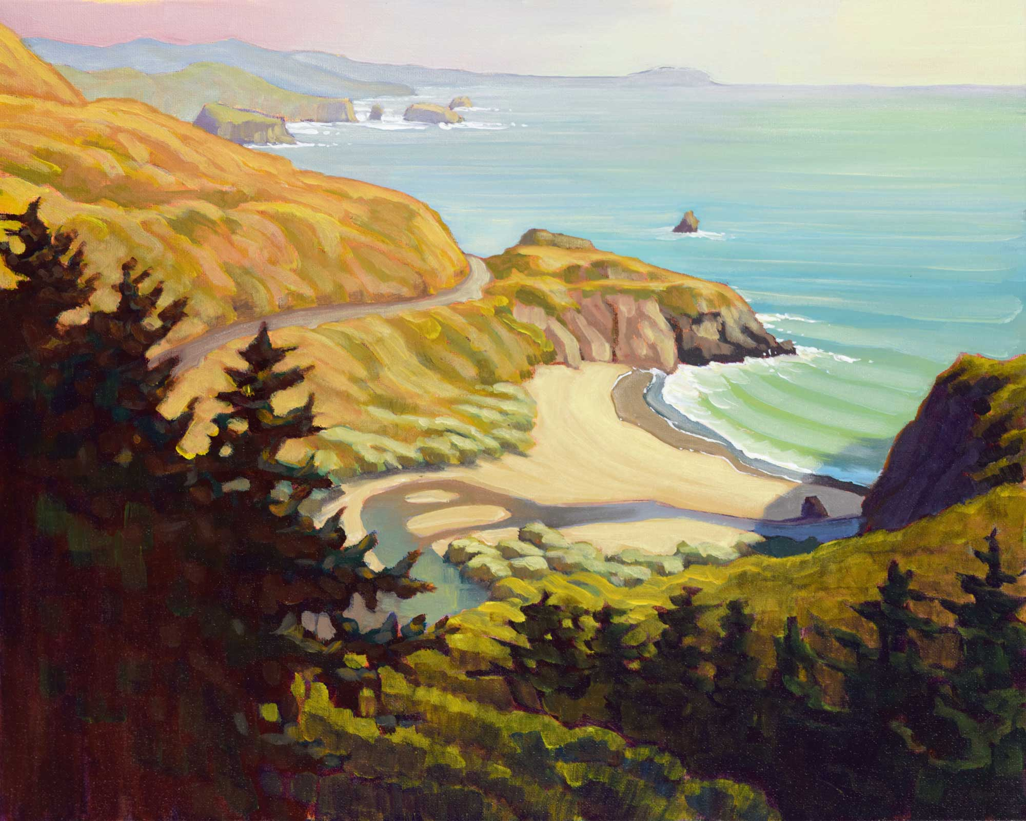 A Plein air painting of Russian Gulch on the Sonoma coast of Northern California