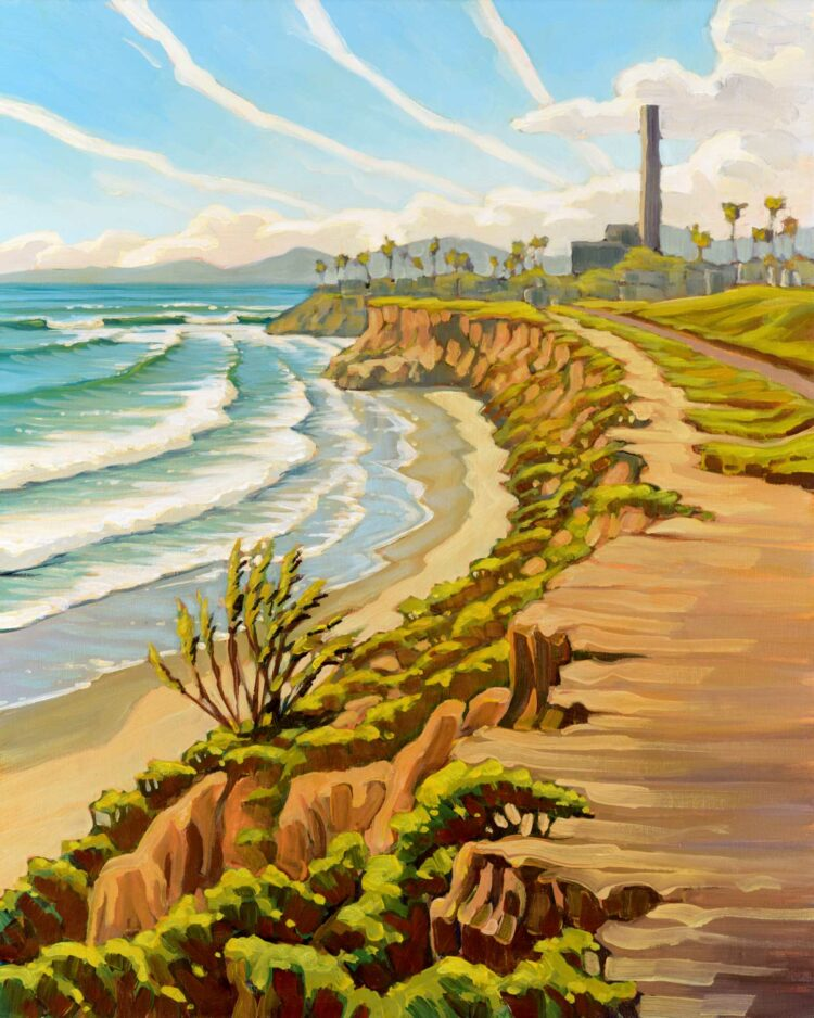 Plein air painting of the power plant in Carlsbad on the San Diego coast of southern California