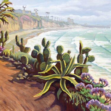 Plein air artwork of the cactus garden overlooking PB point on the San Diego coast of southern California