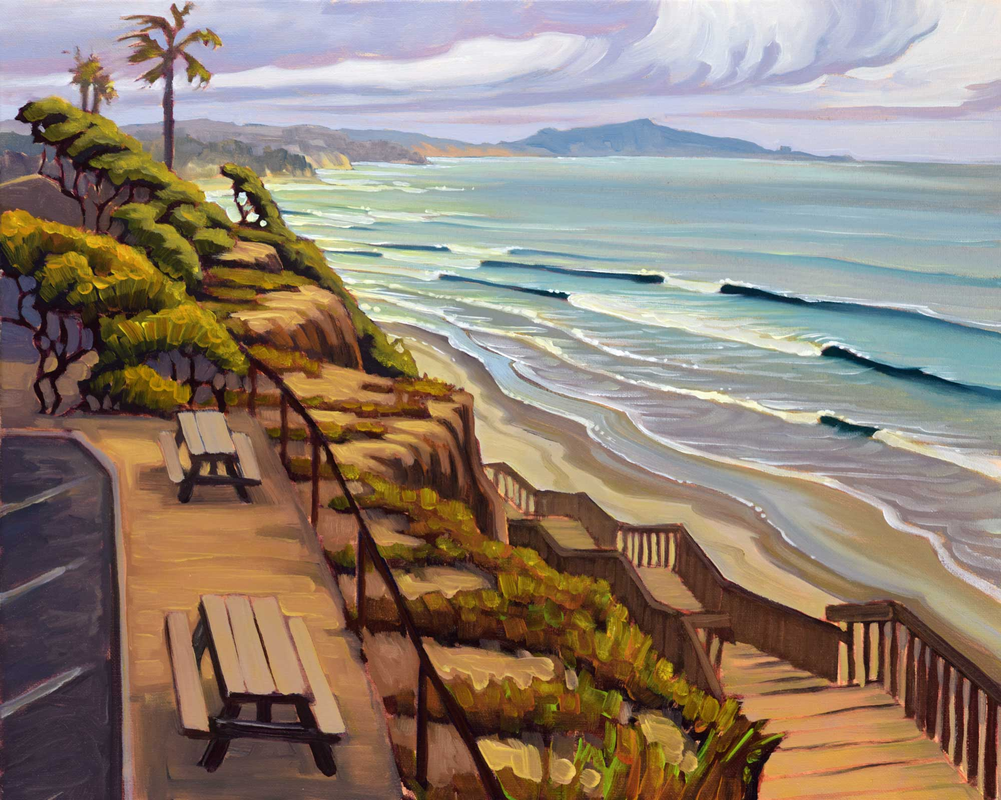 Plein air painting from San Elijo State Park looking toward Cardiff Reef on the San Diego coast of California