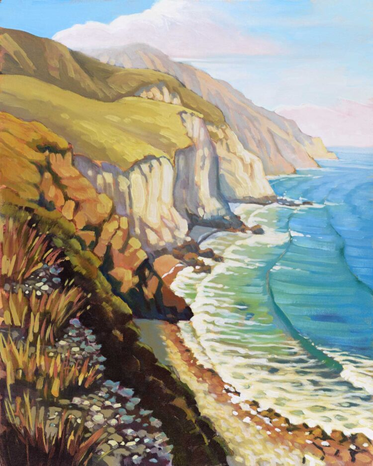 Plein air painting of the the southern coast of Santa Cruz island in Channel Islands National Park of California