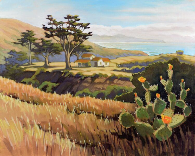 Plein air painting of a cactus and old buildings on the west side of Santa Cruz island off the coast of California