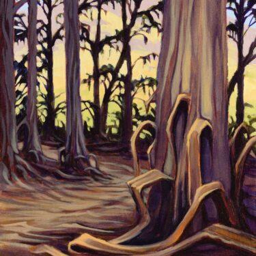 A plein air painting of a eucalyptus grove on Santa Cruz Channel Island off the coast of southern California