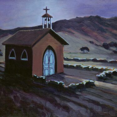 A plein air nocturne painting of a Chapel on Santa Cruz Channel Island off the coast of Southern California
