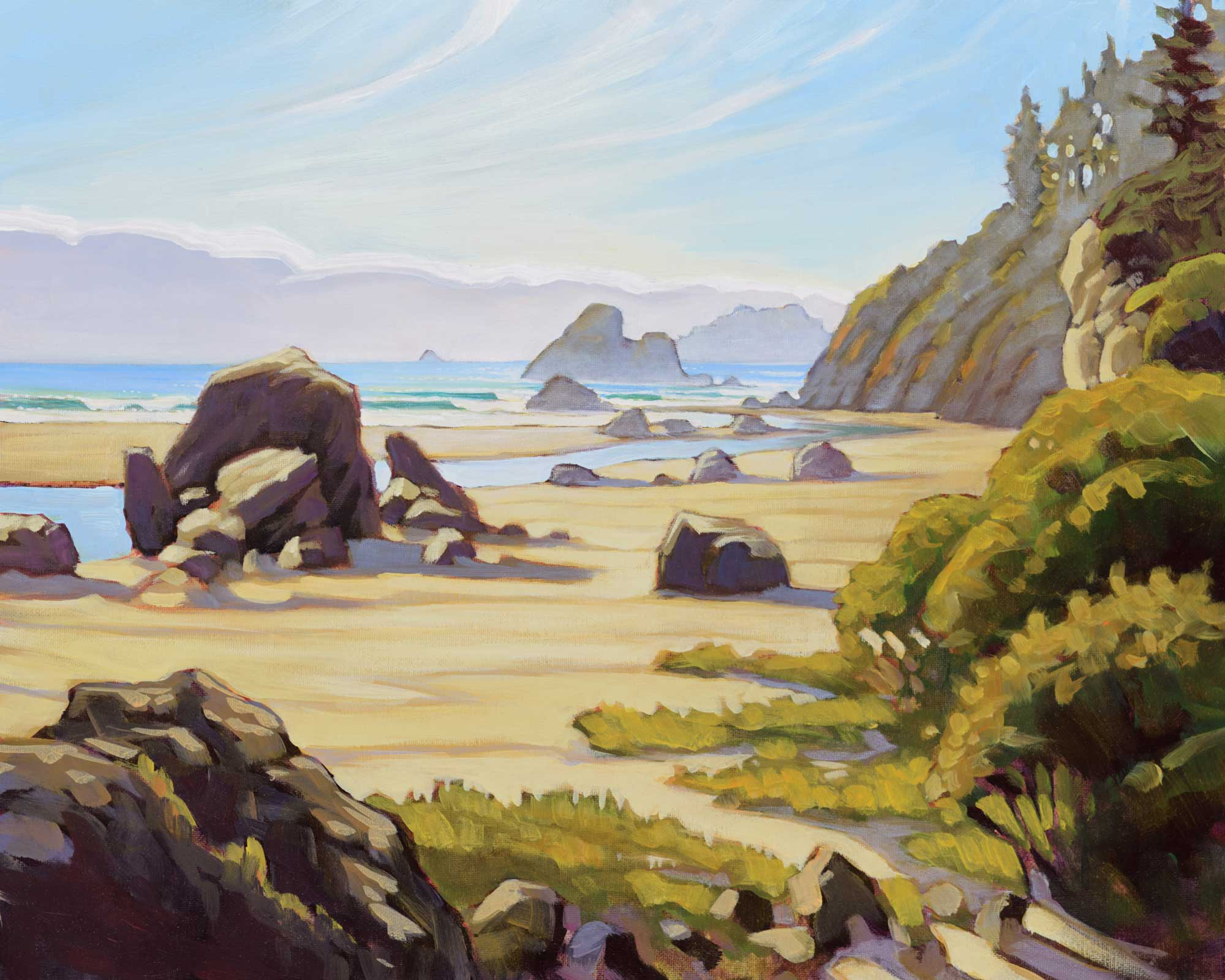 A plein air artwork painting of Moonstone Beach on the Trinidad coast of Humboldt County in northern California