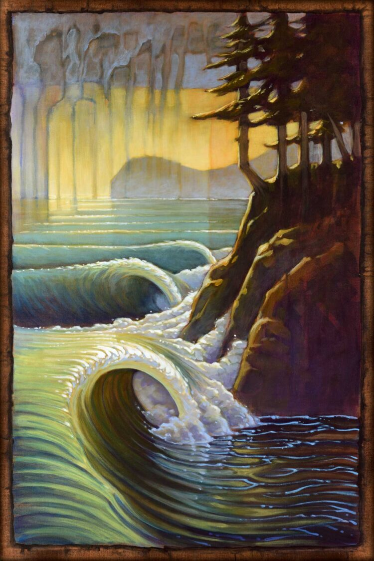 Live art of breaking waves and rugged coast