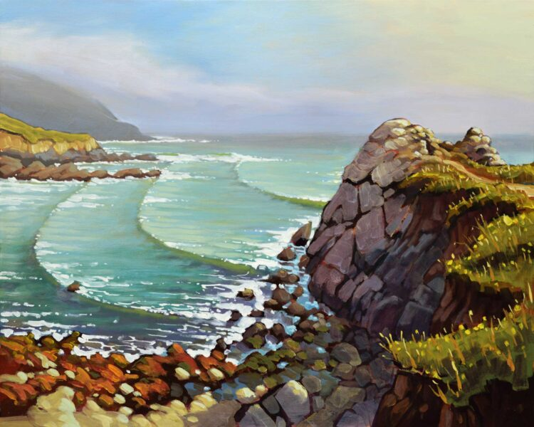 Plein air artwork from the end of the Harmony Headlands trail on the San Luis Obispo county coast of Central California