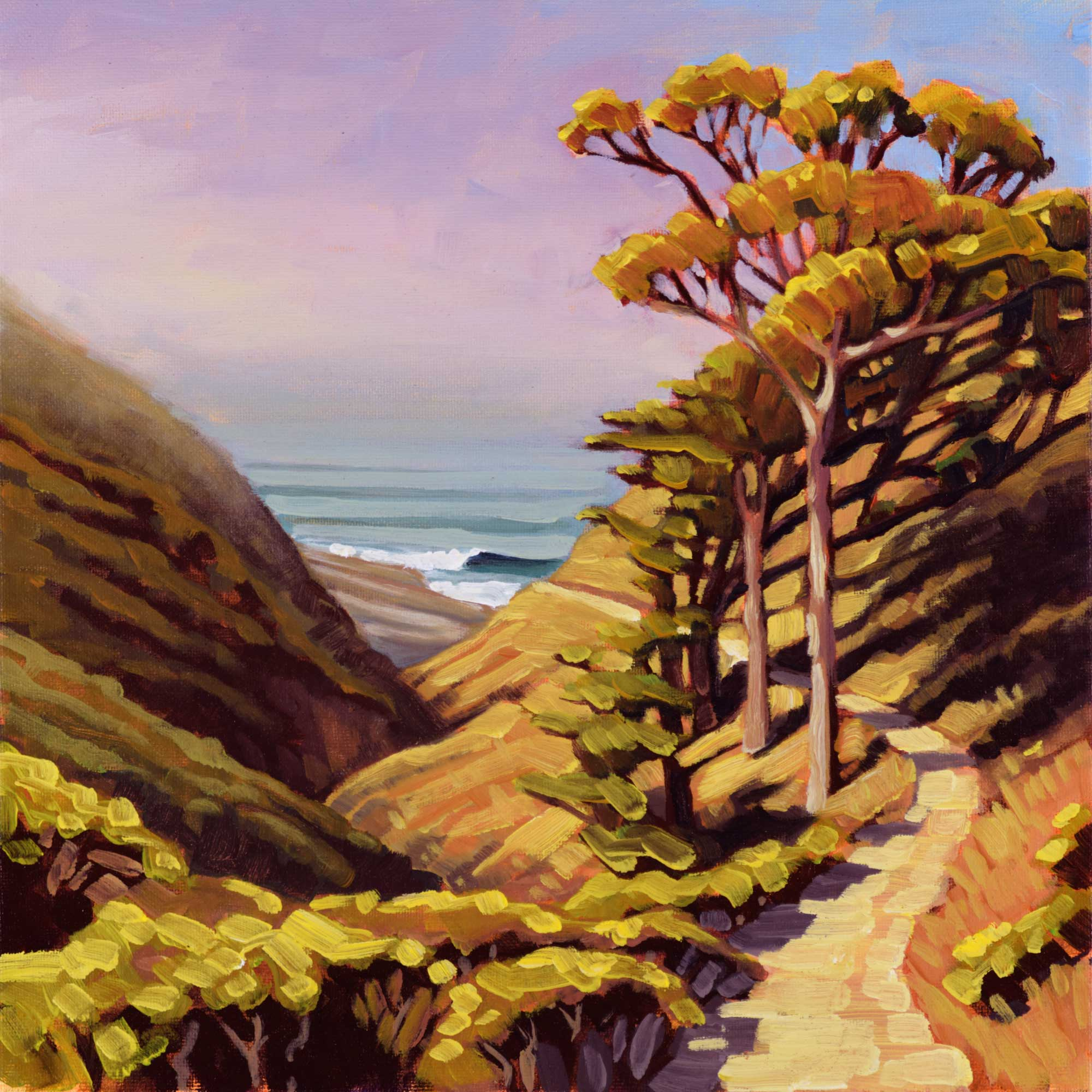 Plein air artwork of the coastal trail at Harmony headlands on the San Luis Obispo county coast of central California