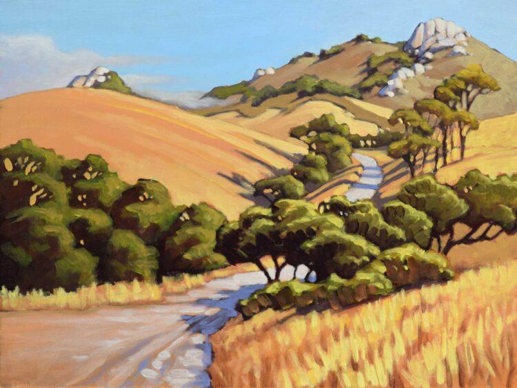 Plein air artwork of a ranch road leading up to Hollister peak near San Luis Obispo on the central California coast