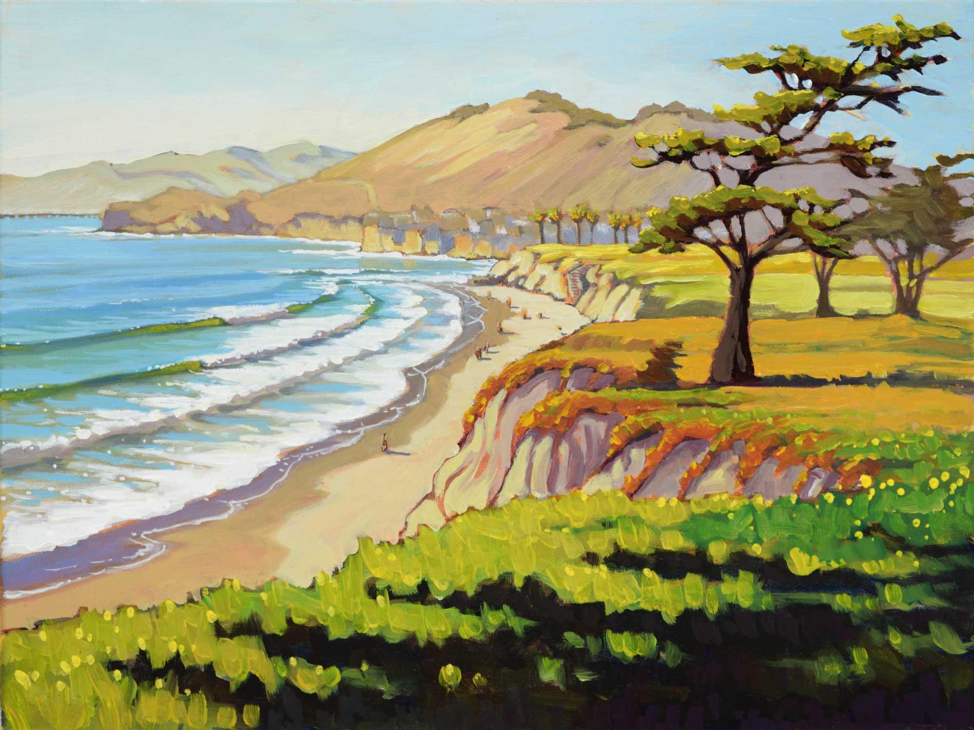 Plein air painting of Ebb Tide Park near Shell Beach on the central California coast of San Luis Obispo County