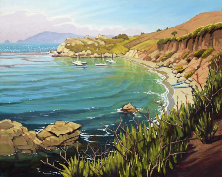 Plein air painting of Pirate's cove and Cave Landing near Avila Beach on the San Luis Obispo county coast of central California
