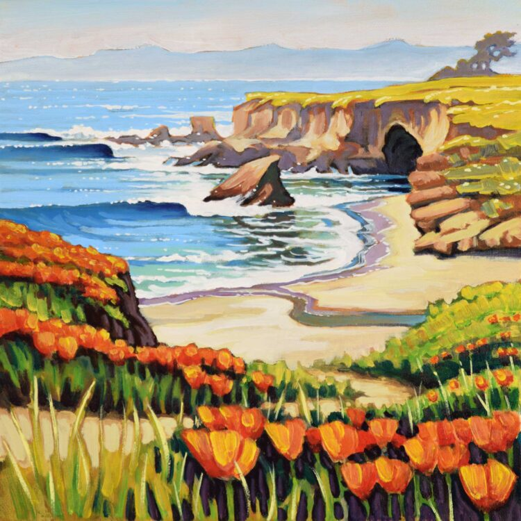 Landscape plein air painting of California poppies growing near Point Buchon on the San Luis Obispo County coast of California