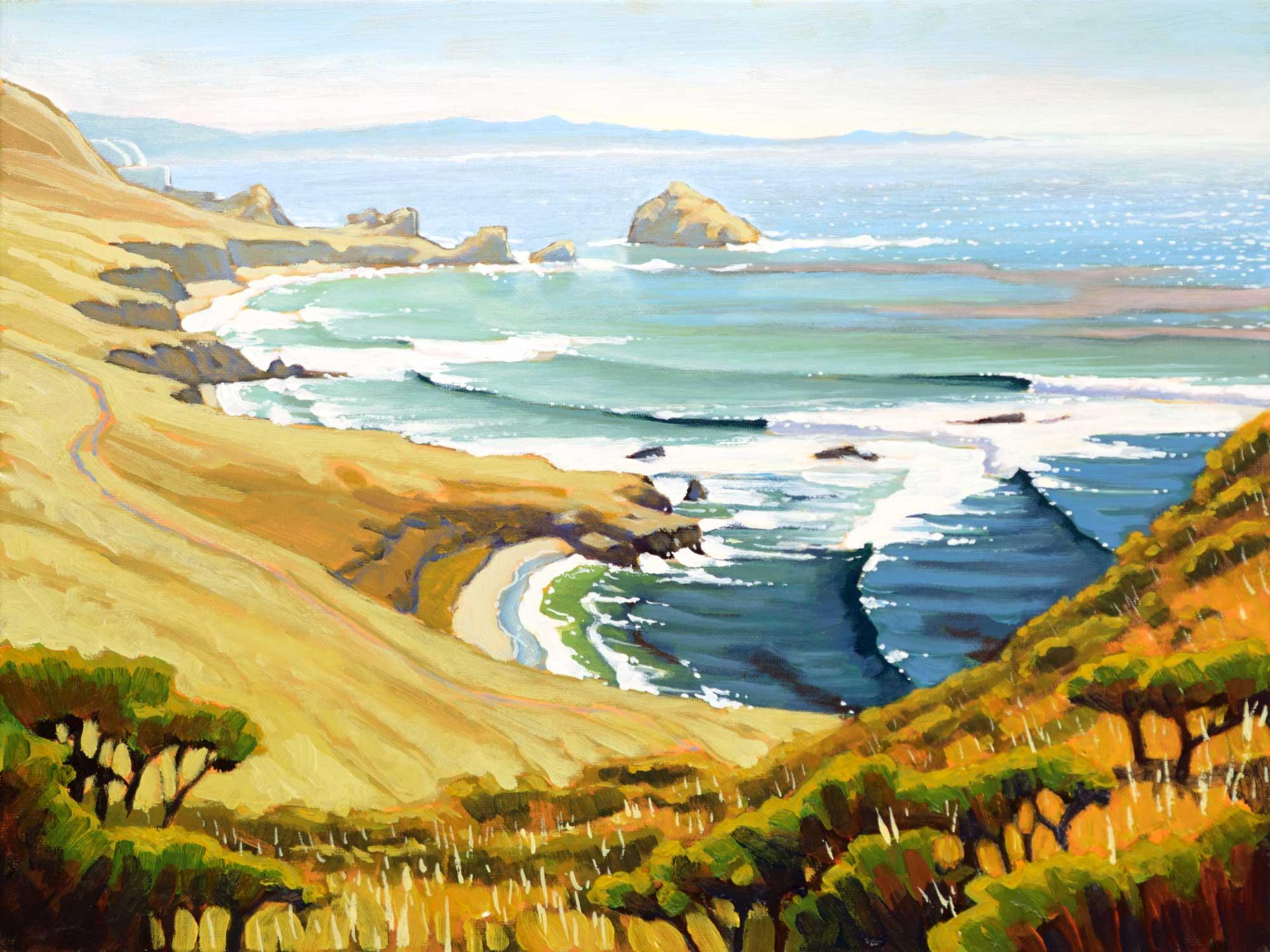 Landscape plein air painting near Point Buchon and Diablo Canyon on the San Luis Obispo county coast of California