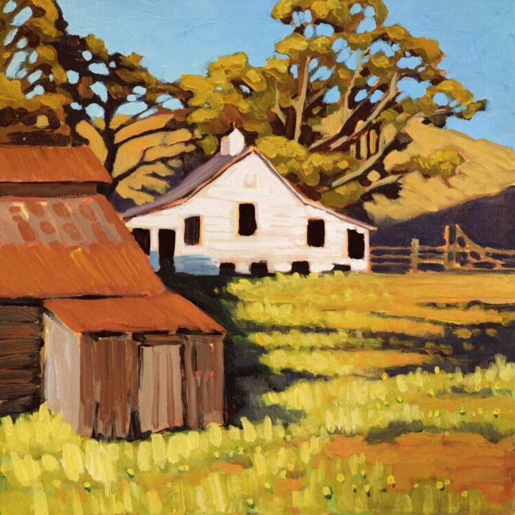 Plein air painting of an old dairy farm building at Cayucos on the central California coast of San  Luis Obispo County