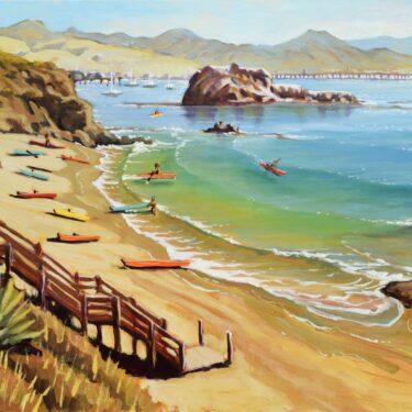 Plein air painting of kayaks on the beach at Port San Luis on the central California coast