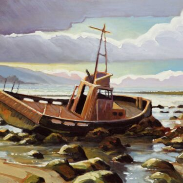 Plein air painting of a shiprwreck near Cayucos on the San Luis Obispo County coast of central California