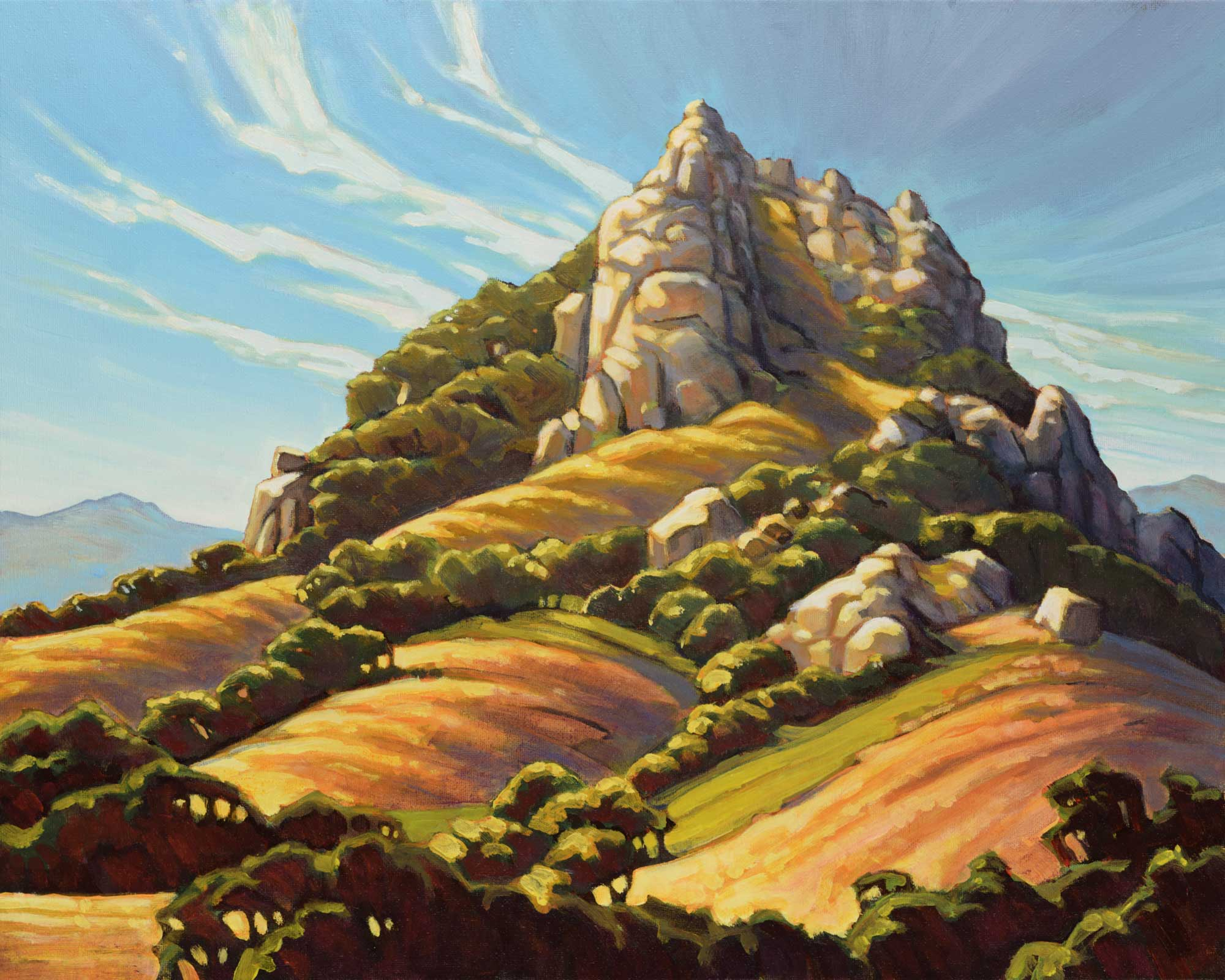 Plein air painting of Hollister Peak inspired by William Wendt in San Luis Obisbo County in Central California
