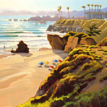 Plein air painting overlooking the north end of Pismo Beach on the San Luis Obispo county coast of Central California