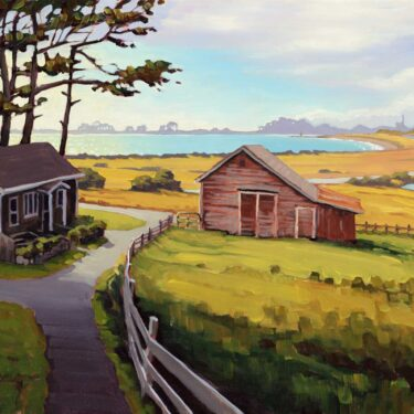 A plein air artwork painting of house and barn beside Humboldt Bay on the Northern California coast