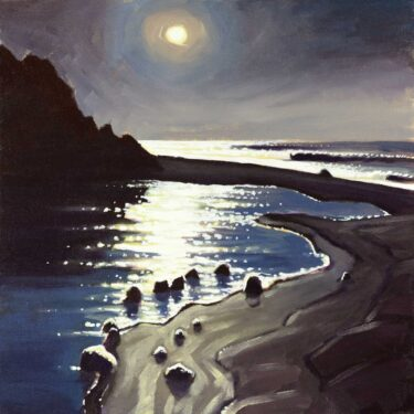 Plein air nocturne painting of Cooskie Creek on the Lost Coast Trail on the Humboldt Coast of Northern California