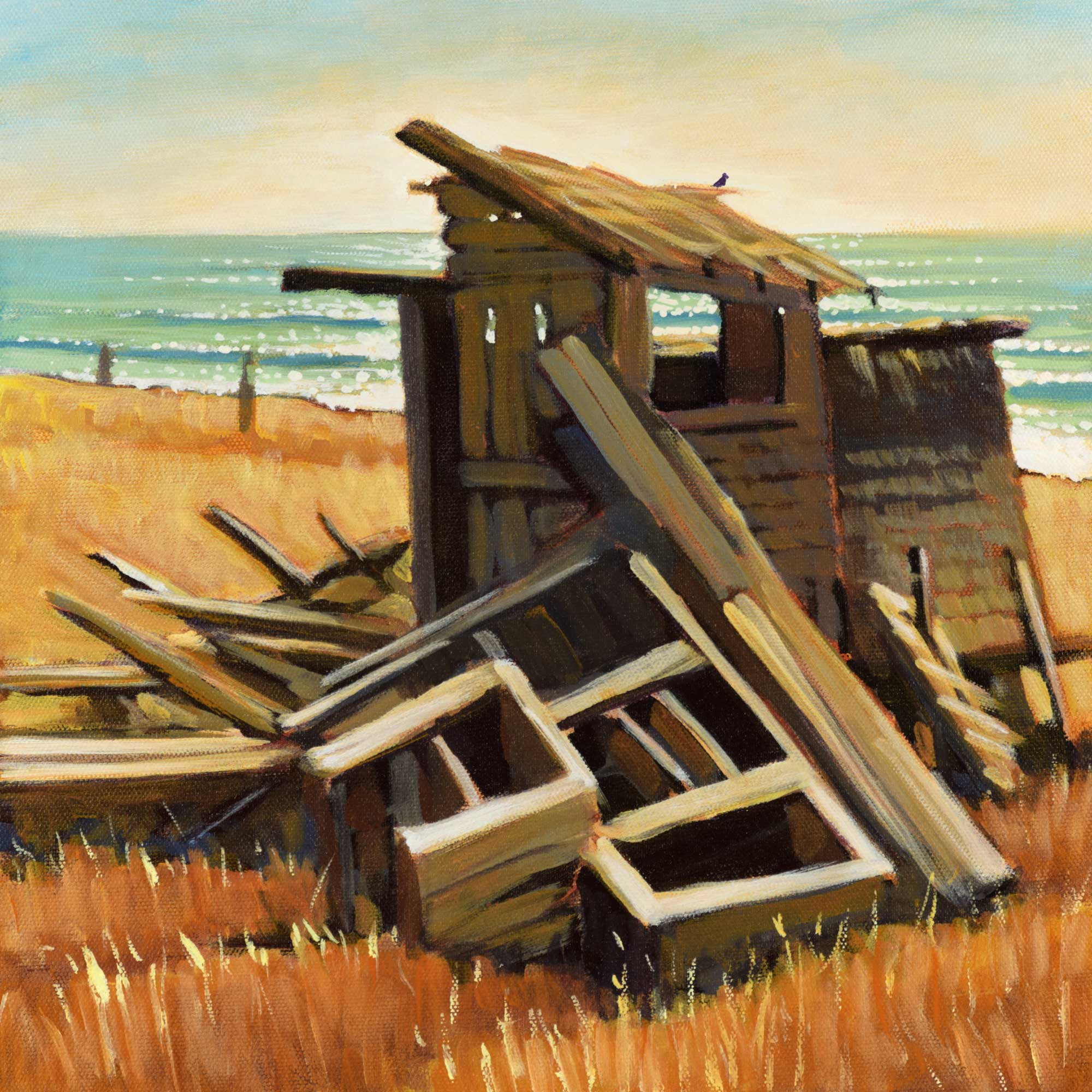 A plein air painting of a broken down hunting cabin on the Lost Coast Trail in Northern California's Humboldt County