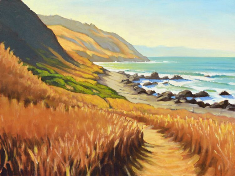 A plein air painting of the view from inside the Punta Gorda Lighthouse on the Lost Coast Trail in Humboldt, California