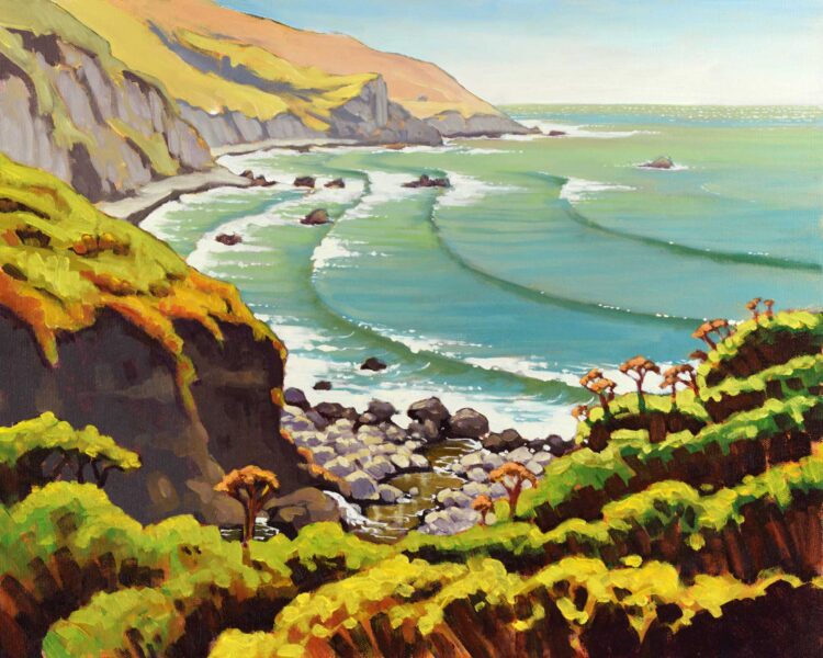 A plein air landscape painiting from the Lost Coast Trail at Sea Lion Gulch on the Humboldt coast of California