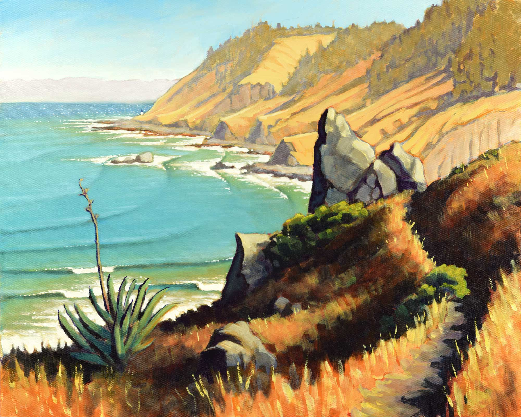 A plein air landscape from the Lost Coast Trail overlooking Punta Gorda on the Humboldt coast of northern California