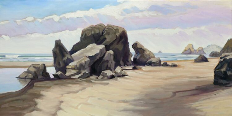 A plein air oil painting of rocks at Moonstone Beach on the Trinidad coast of Humboldt in Northern California