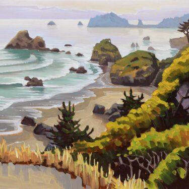 Plein air landscape overlooking Camel Rock toward Trinidad head on the Humboldt Coast of Northern California