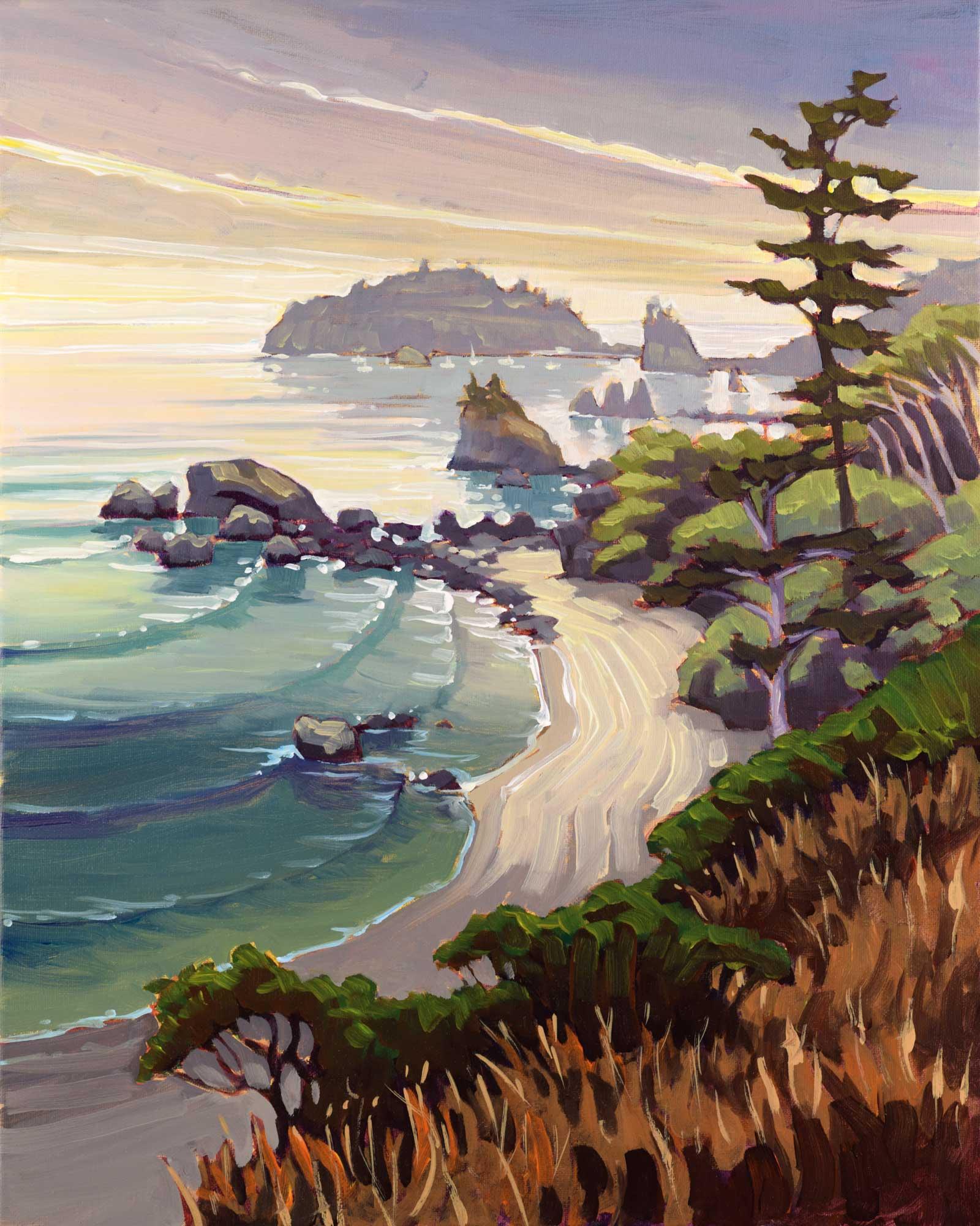 A plein air landscape of Baker Beach on Humboldt county's Trinidad coast of northern California