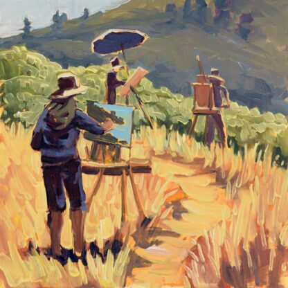 A quick plein air sketch of Wade Koniakowsky, Steve Taylor, and Steve Porter painting at Trinidad, California