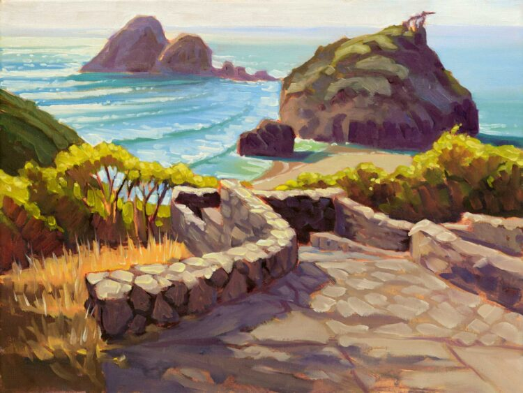 A plein air oil painting of stonework overlooking Camel Rock at Houda Point on the Trinidad coast of Humboldt California