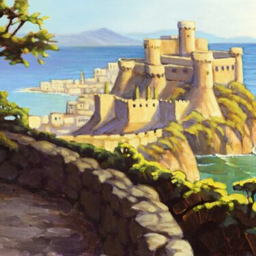 Plein air painting of the castle at Gaeta, Italy