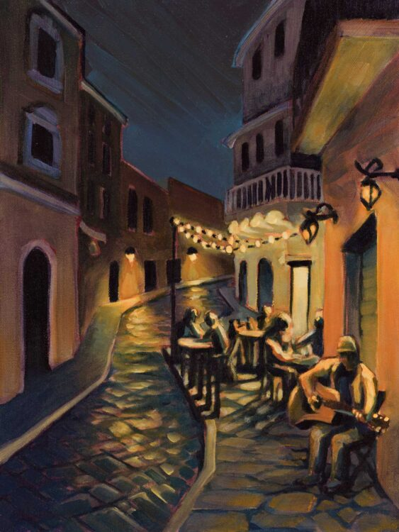 Plein air painting of Dwight Harrington playing guitar on the street at night in Gaeta, Italy